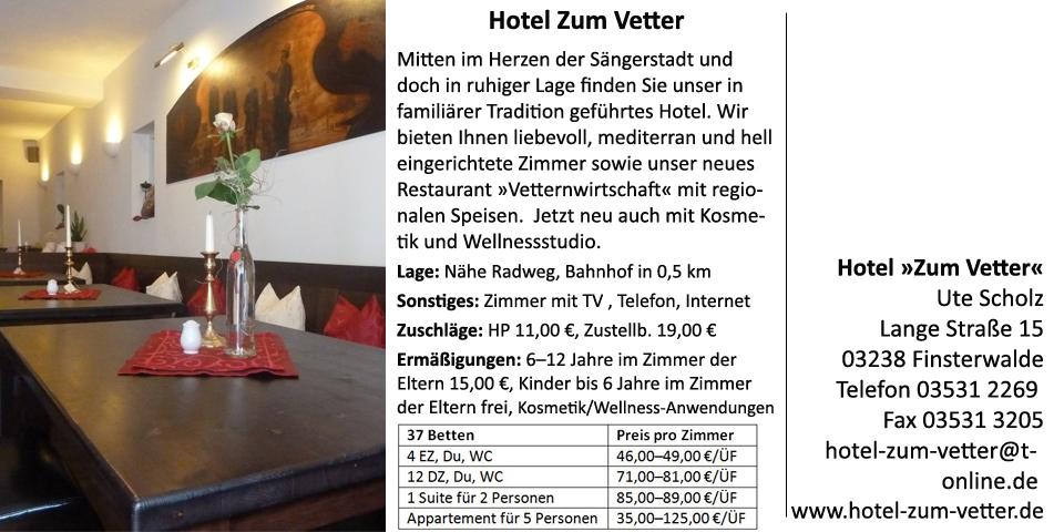 Willkommen touristinfo finsterwalde for Hotel vetter